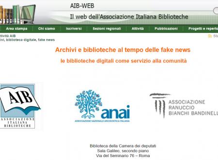 Archivi e biblioteche al tempo delle #fakenews  le biblioteche digitali come servizio alla comunità