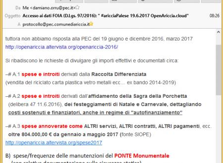 "Accesso ai dati FOIA (D.Lgs. 97/2016): "" #aricciaPalese 19.6.2017 OpenAriccia.cloud"""