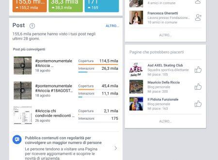 #aricciapalese statistiche facebook @openariccia.cloud #agosto2018